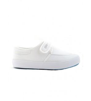 Pallas School Shoe Jazz Single Velcro Strap 204-031 White