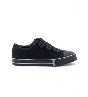 Pallas School Shoe Jazz Three Velcro Straps 205-0166 Black