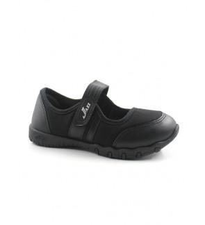 Pallas School Shoes Jazz Single Velcro Strap 204-034 Black
